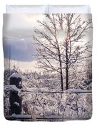 Fence And Tree Frozen In Ice Duvet Cover