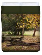 Fence And Tree In Autumn Duvet Cover