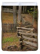 Fence In Autumn Duvet Cover