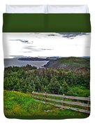 Fence In Fields At Long Point In Twillingate-nl Duvet Cover