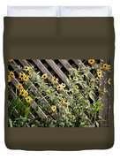Fence Lined Wildflowers Duvet Cover