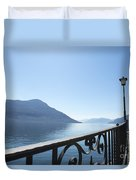 Fence With Street Lamp Duvet Cover