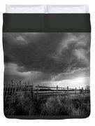 Fenced In - Western Oklahoma Scene In Black And White Duvet Cover