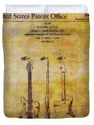 Fender Guitar Patent On Canvas Duvet Cover