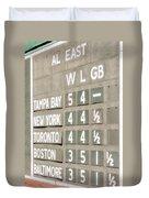 Fenway Park Al East Scoreboard Standings Duvet Cover