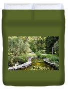 Fernwood Botanical Garden Frog Pond With Bench Niles Michigan Us Duvet Cover