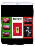 Ferrari Collage On Italian Flag Duvet Cover