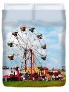 Ferris Wheel Against Blue Sky Duvet Cover