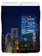 Ferris Wheel Seattle Harbor Duvet Cover