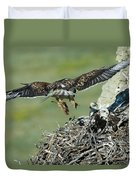 Ferruginous Hawk Bringing Food To Young Duvet Cover