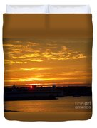 Ferry At Sunset Duvet Cover