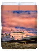 Ferry Dockside At Cold Bay Duvet Cover