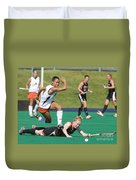 Field Hockey Hurdle Duvet Cover
