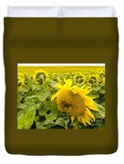 Field Of Blooming Yellow Sunflowers To Horizon Duvet Cover