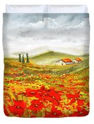 Field Of Dreams - Poppy Field Paintings Duvet Cover
