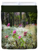 Field Of Flowers On A Rainy Day Duvet Cover