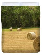 Field Of Freshly Baled Round Hay Bales Duvet Cover