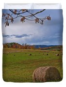 Field Of Round Bales Duvet Cover