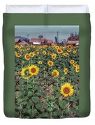 Field Of Sunflowers Duvet Cover by Adrian Evans