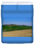 Field With Cypress Trees Duvet Cover
