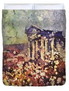 Fields Of Flower- And Roman Temple Duvet Cover