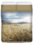Fields Of Grass In Nevada Desert Duvet Cover