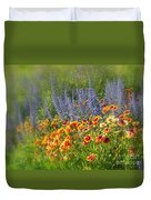 Fields Of Lavender And Orange Blanket Flowers Duvet Cover