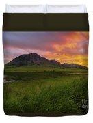Fiery Sky Over Bear Butte Duvet Cover