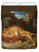 Fight Between A Lion And A Tiger, 1797 Duvet Cover by James Ward