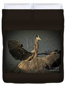 Fighting Great Blue Herons Duvet Cover