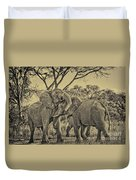 fighting male African elephants Duvet Cover