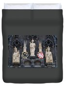 Figures On Staromestska Vez In Prague Duvet Cover