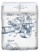 Film Camera Patent Drawing From 1938 - Blue Ink Duvet Cover