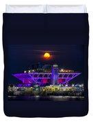 Final Moon Over The Pier Duvet Cover