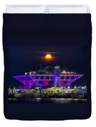Final Moon Over The Pier Duvet Cover