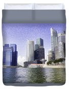 Financial District Of Singapore And View Of The Water Duvet Cover
