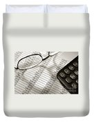 Financial Spreadsheet With Calculator And Glasses Duvet Cover