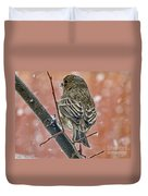 Finch On A Snowy Day Duvet Cover