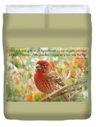 Finch With Verse New Version Duvet Cover