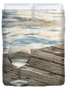 Finger Lakes Wine Tasting - Wine Glass On The Dock Duvet Cover