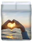 Fingers Heart Framing Ocean Sunset Duvet Cover