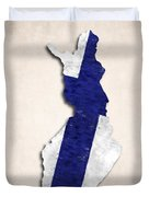 Finland Map Art With Flag Design Duvet Cover
