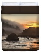 Fire And Fog At Trinidad Duvet Cover by Adam Jewell