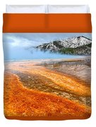 Fire And Ice - Grand Prismatic Spring On A Cloudy Day. Duvet Cover