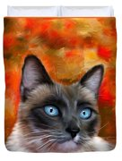 Fire And Ice - Siamese Cat Painting Duvet Cover