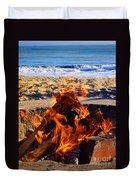 Fire At The Beach Duvet Cover