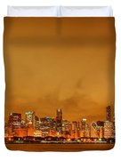Fire In A Chicago Night Sky Duvet Cover