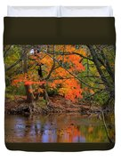 Fire In The Creek A1 - Owens Creek Near Loys Station Covered Bridge - Autumn Frederick County Md Duvet Cover