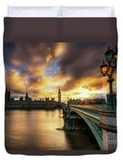 Fire In The Sky Duvet Cover by Yhun Suarez
