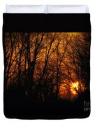 Fire In The Woods Sunset Duvet Cover
